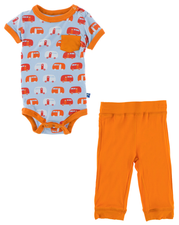 Pond Camper Short Sleeve Pocket One Piece & Pant Set