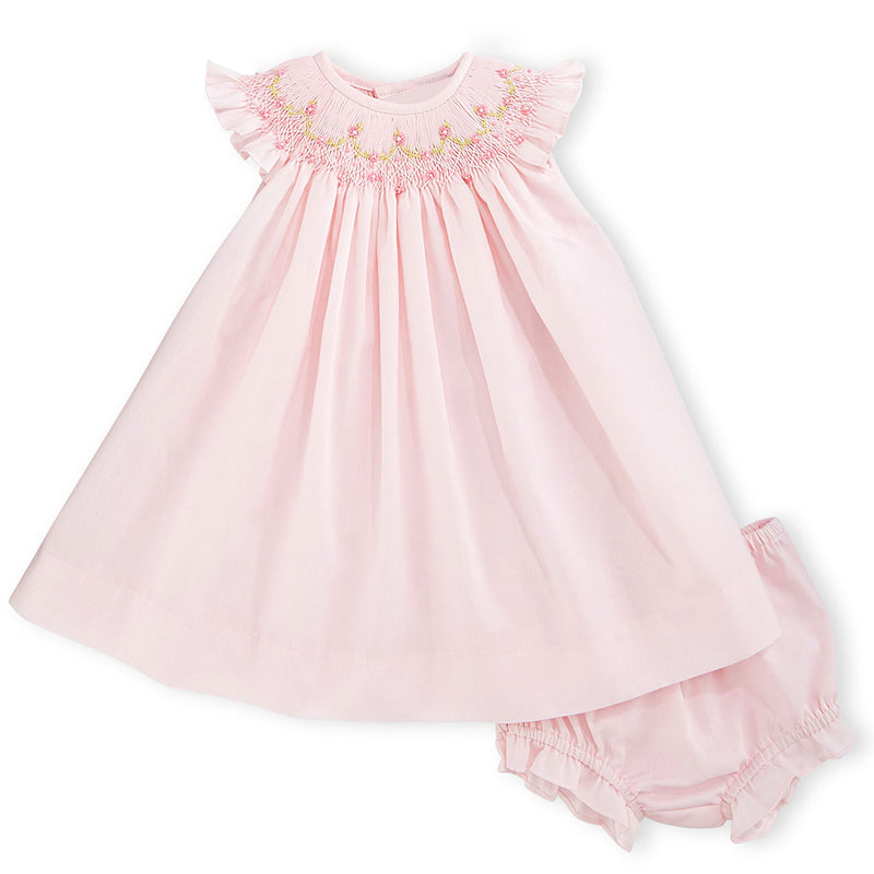 Luli & Me - Pink Floral Smocked Bishop Dress w/ Bloomers - kkgivingtree - Luli and Me - K&K's
