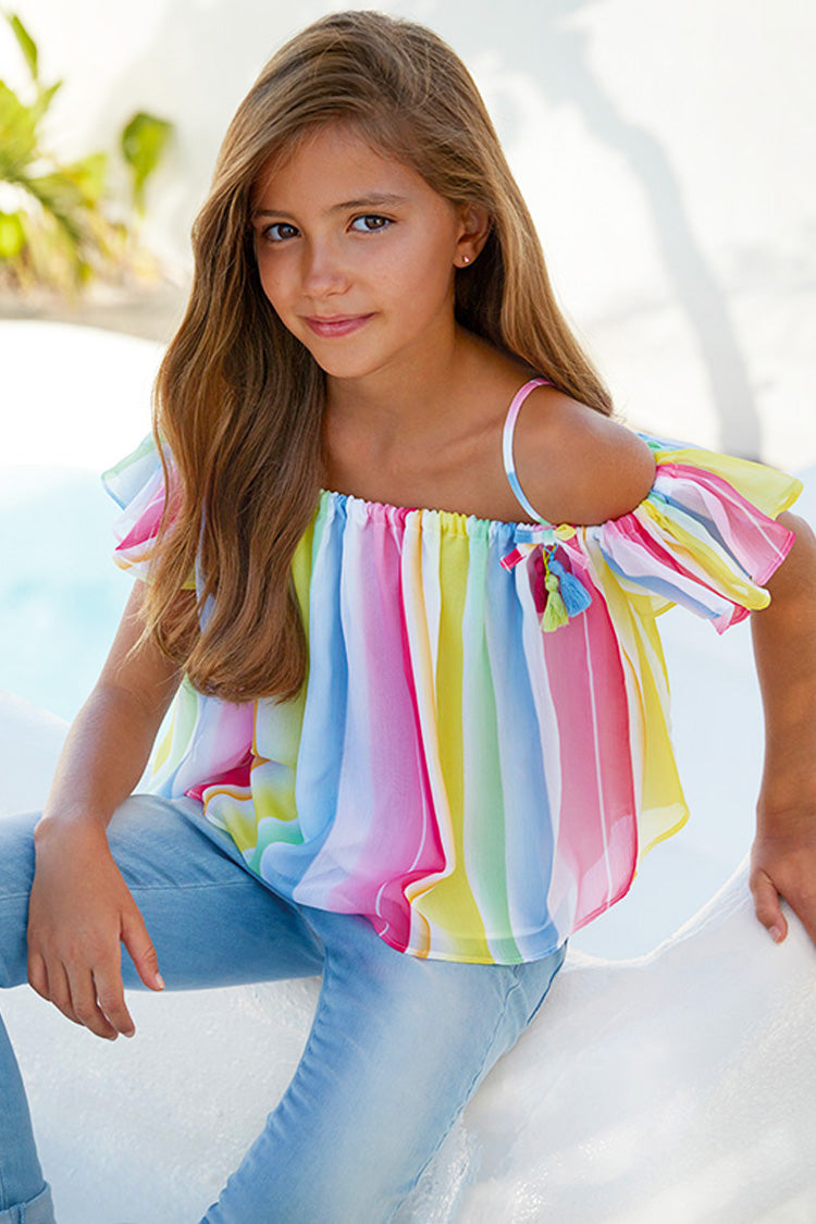 Mayoral - Candy Stripe Chiffon Blouse - kkgivingtree - K&K's Giving Tree
