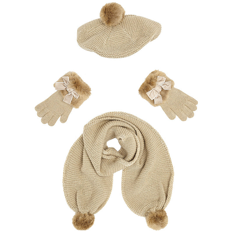 Caramel Hat, Scarf & Gloves Set