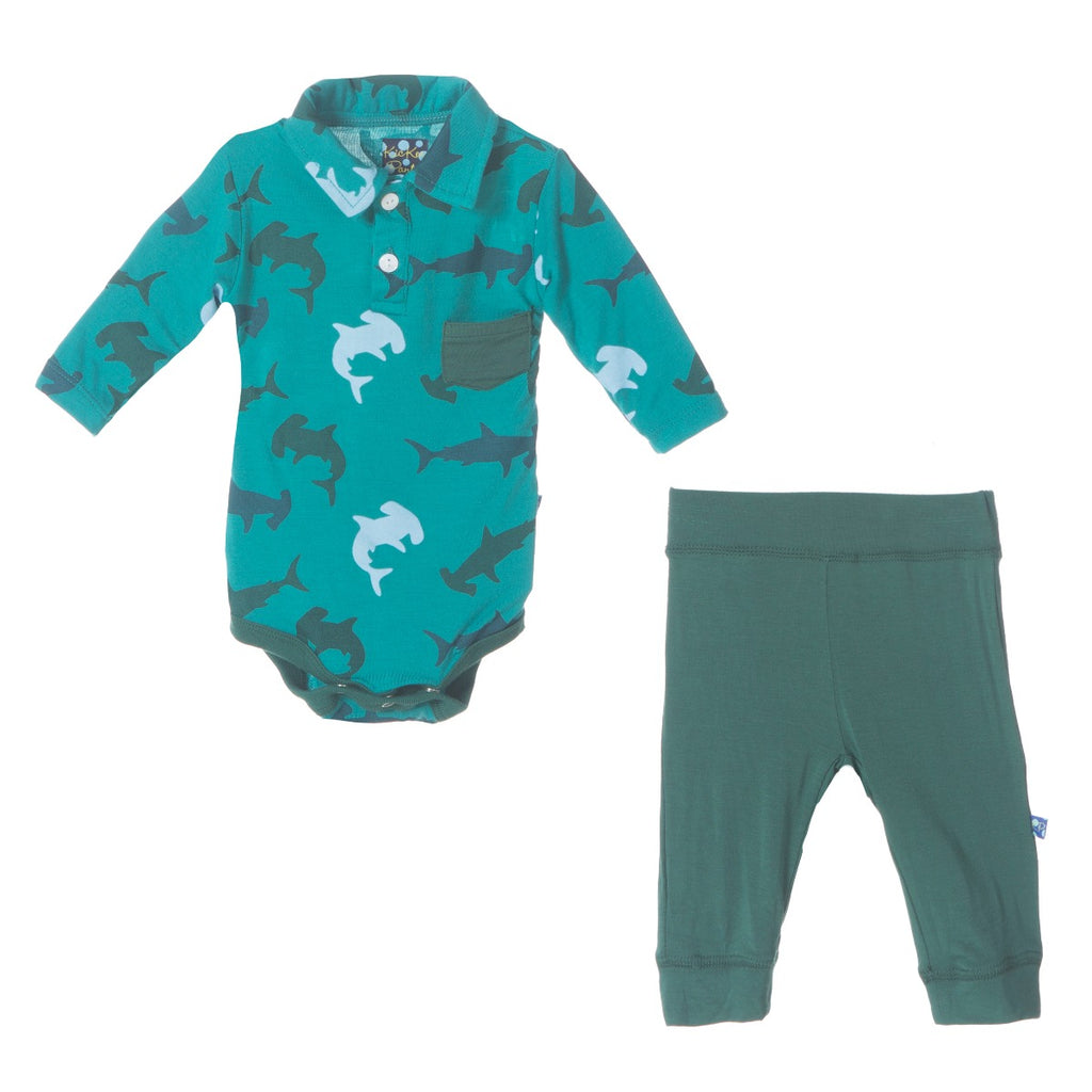 Lagoon Hammerhead Long Sleeve Polo Pocket One Piece & Pant Outfit Set