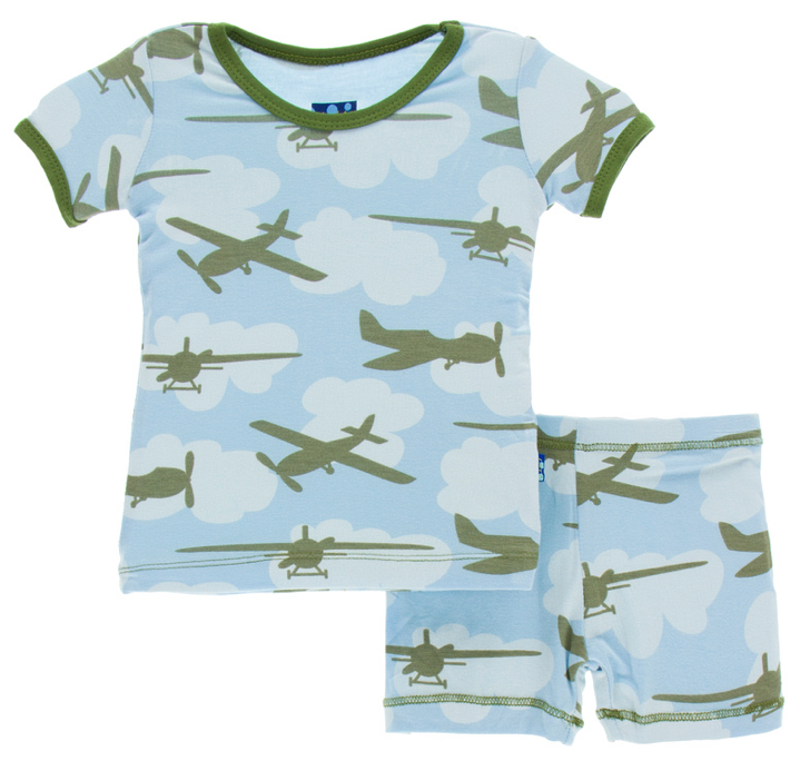 Pond Airplanes Short Sleeve Pajama Set w/ Shorts