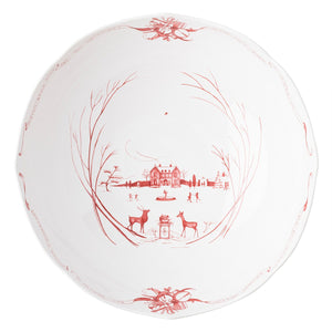 "Country Estate Winter Frolic Ruby 13"" Centerpiece Bowl"