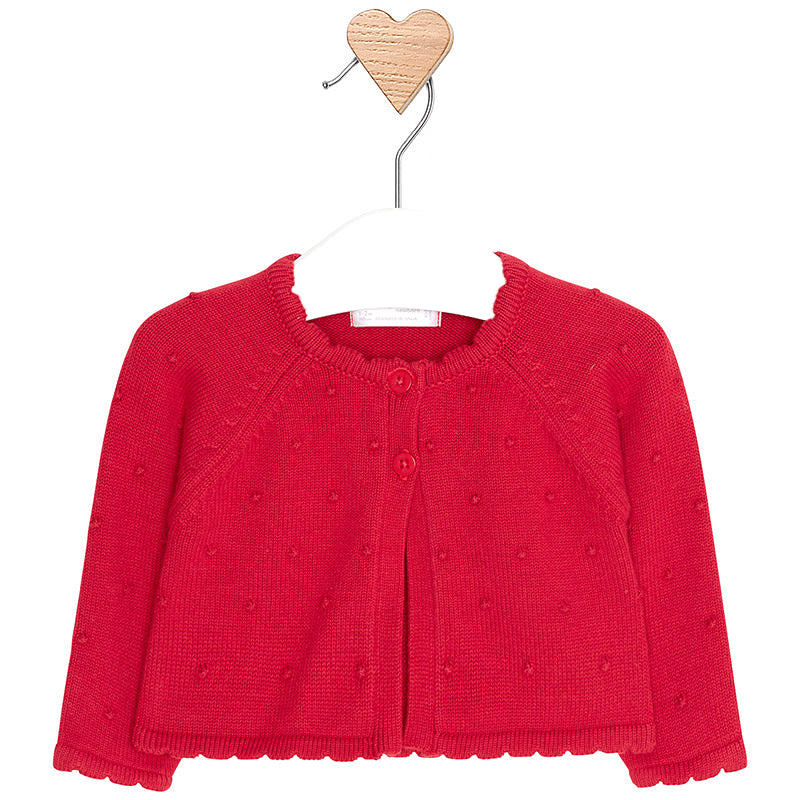Knitted Cotton Cherry Red Cardigan