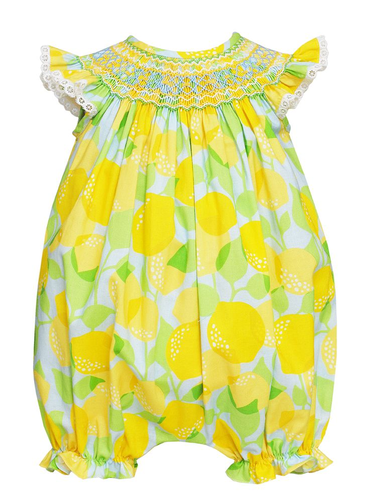 Lemon Print Smocked Bubble