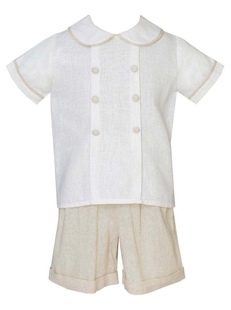 Khaki and White Linen Shorts Set
