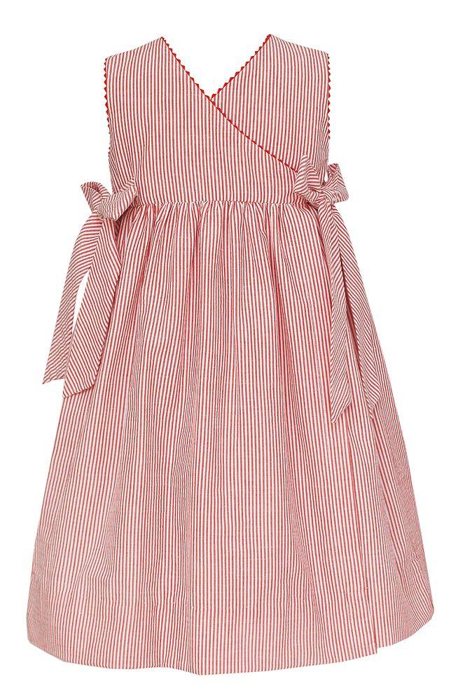 Red Striped Smocked Snow White Dress w/ Bows