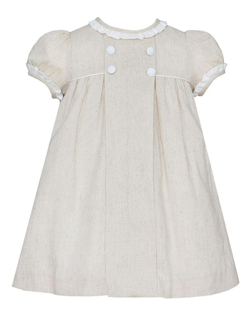 Khaki Linen Dress w/ Ruffle Neckline