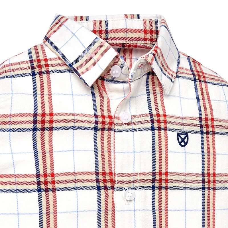 Cherry & Navy Plaid Button Down Shirt