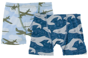 Boxer Briefs Set: Pond Airplanes & Twilight Whale