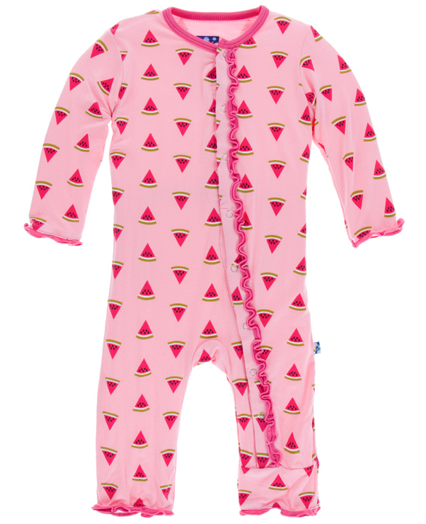 Lotus Watermelon Muffin Ruffle Coverall w/ Snaps