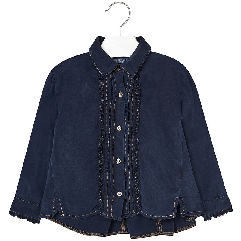 Mayoral Ultra Soft Dark Denim Ruffle Blouse