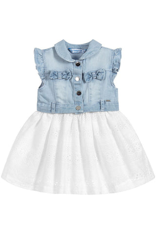 Mayoral - Denim Eyelet Dress - Denim mix dress for baby girl - kkgivingtree - K&K's Giving Tree