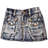 Denim Skirt with Rhinestones