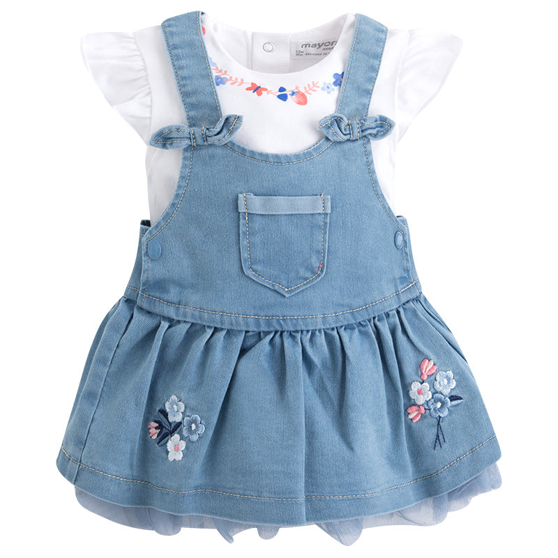 Top & Denim with Tulle Skirt Overalls Set