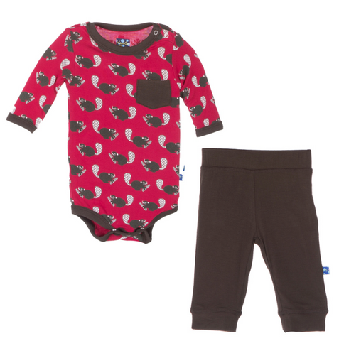 KicKee Pants - Crimson Busy Beaver Long Sleeve One Piece & Pant Outfit Set - kkgivingtree - K&K's