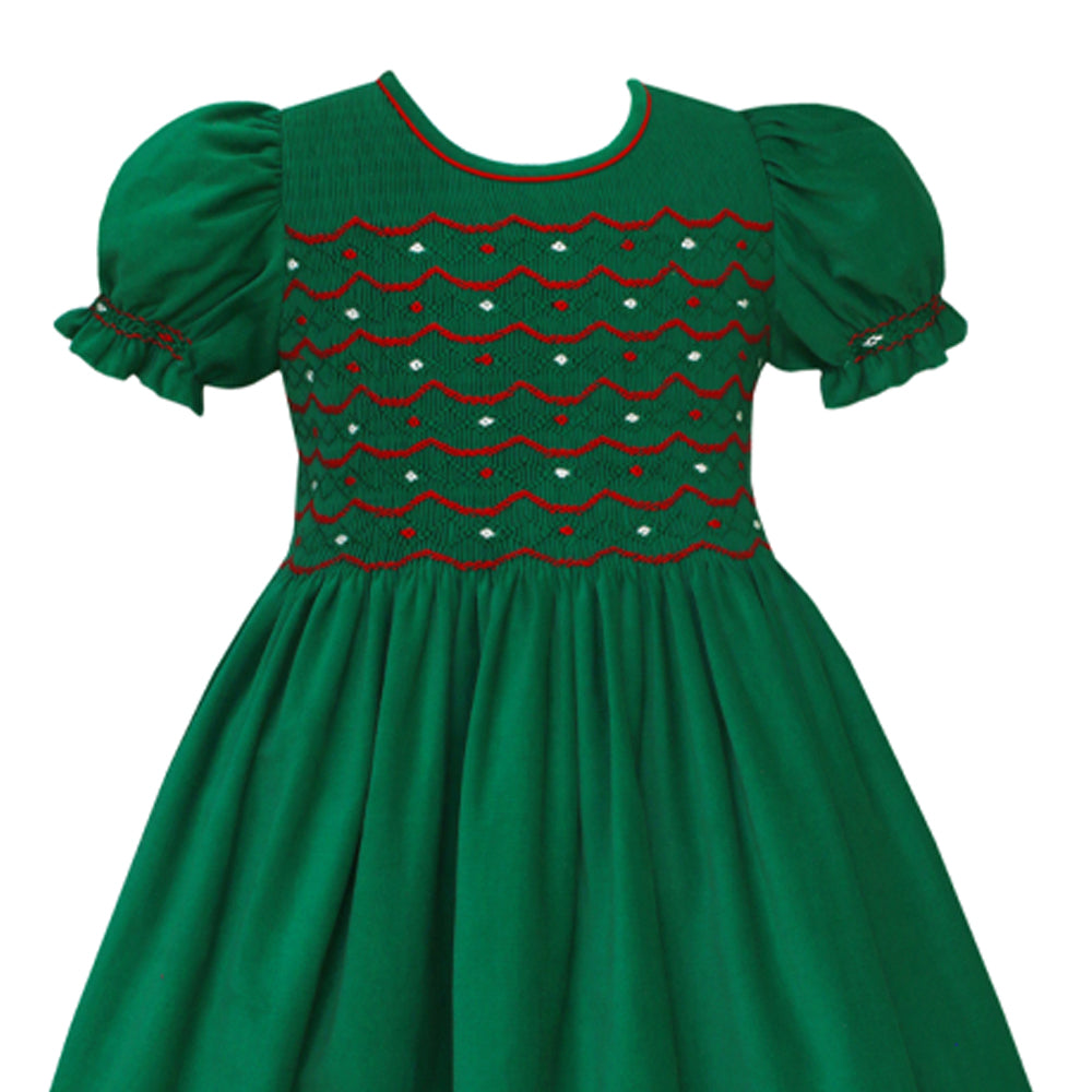Green Christmas Smocked Dress with Red Bow