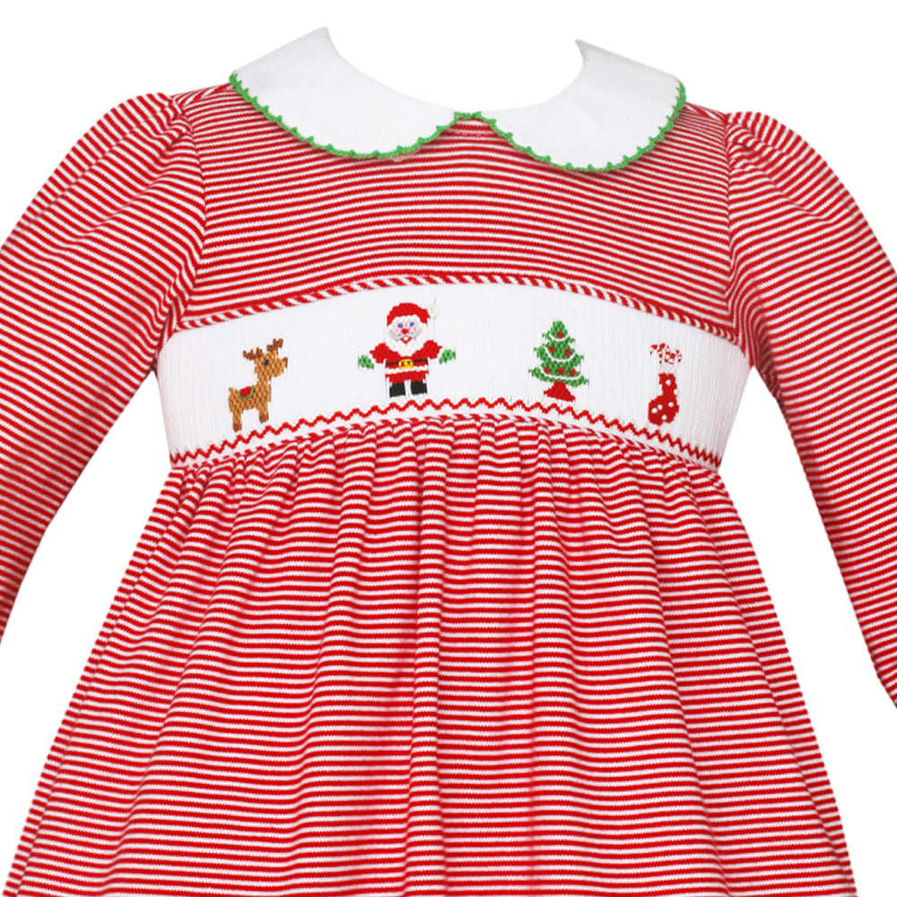Striped Santa Claus Dress with Collar