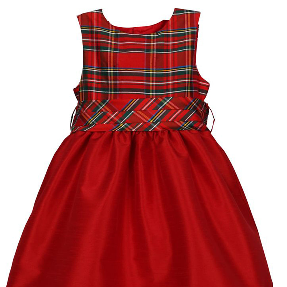 Red Scallop Dress with Plaid Accents