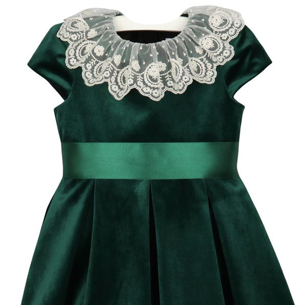 Green Velvet Dress with Lace Collar