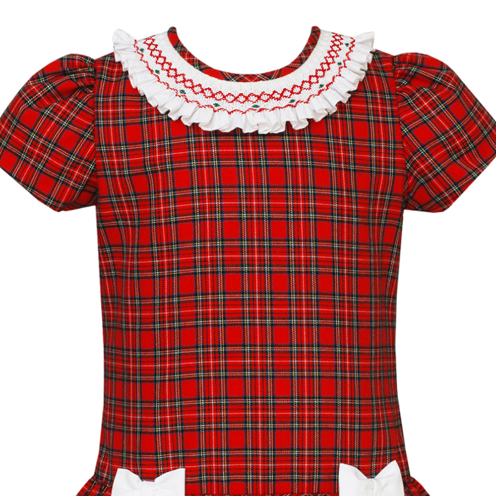 Red Plaid Shift Dress with Bows