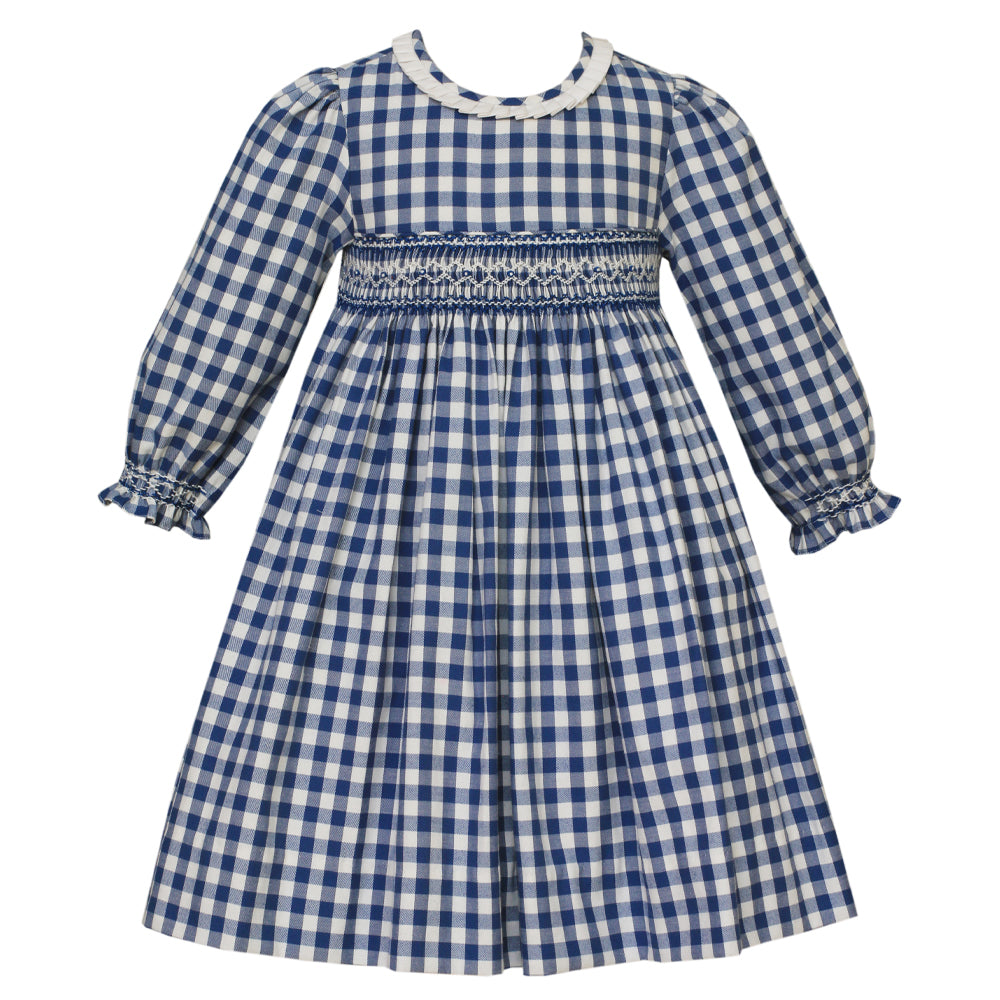 Smocked Blue Check Dress w/ Pleated Collar