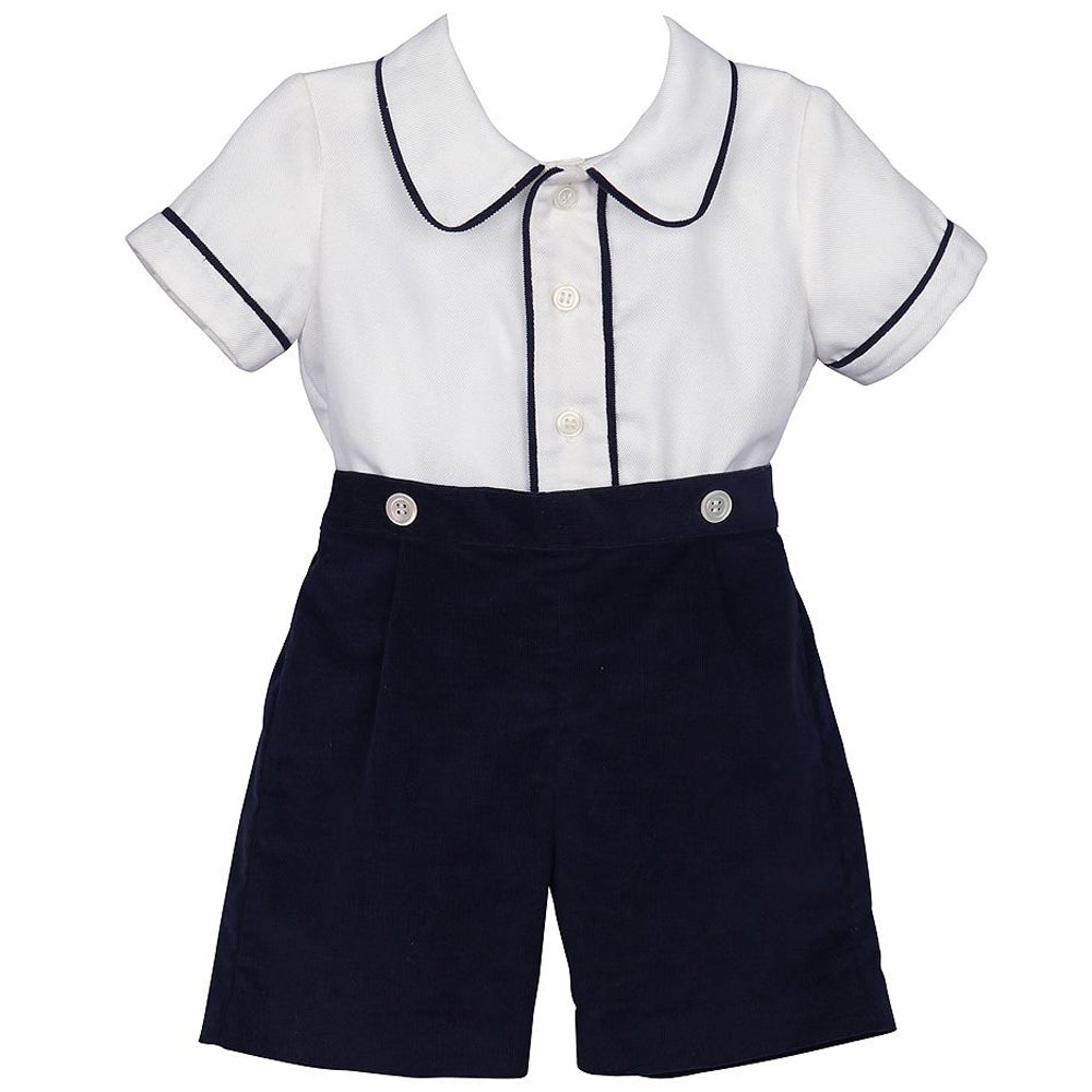 Navy Corduroy Dressy Short Set