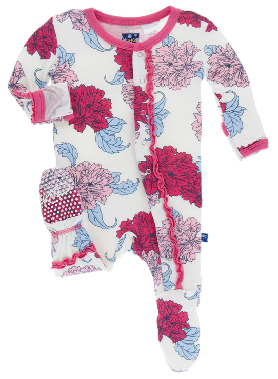 Natural Peony Muffin Ruffle Footie w/ Snaps