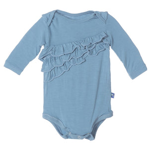 KicKee Pants - Blue Moon Diagonal Ruffle Long Sleeve One Piece - kkgivingtree