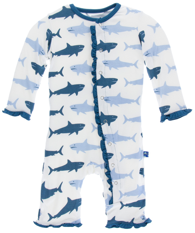 Natural Megalodon Classic Ruffle Coverall w/ Snaps