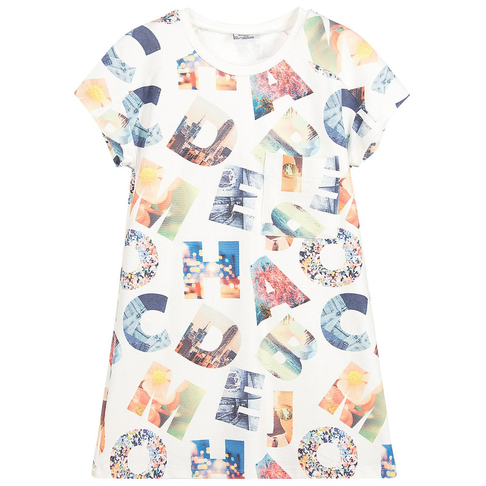 Alphabet Print Short Sleeve Dress