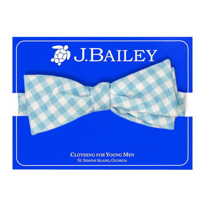 Turquoise Check Print Johnny Bow Tie