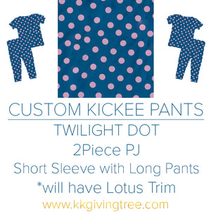 Twilight Dot w/ Lotus Trim Short Sleeve Pajama Set