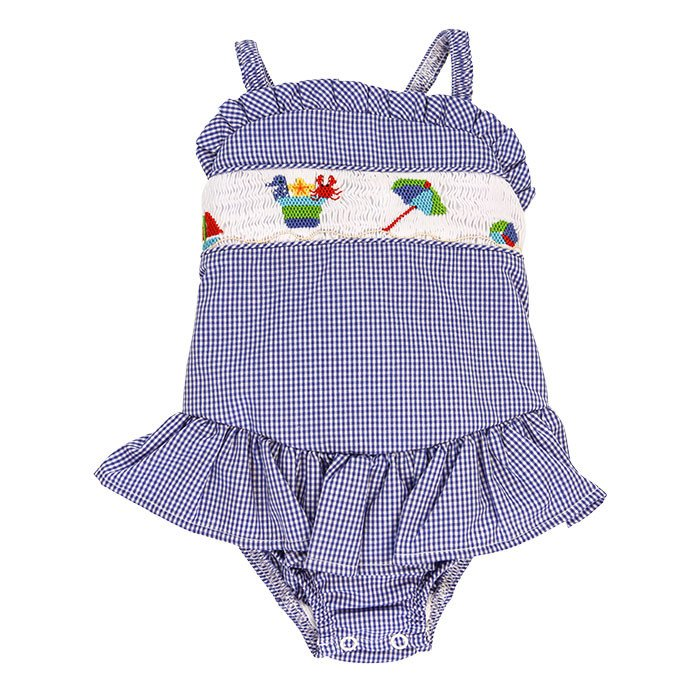 Smocked Sun & Sand Fun One-piece Swimsuit with Ruffle