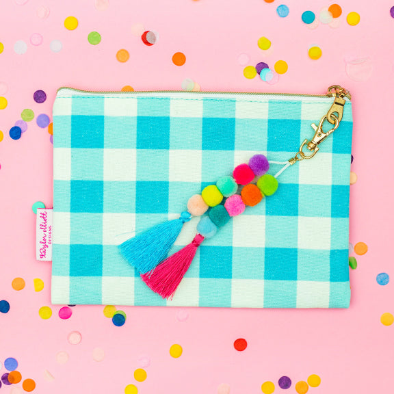 Blue Gingham Pouch with Keychain