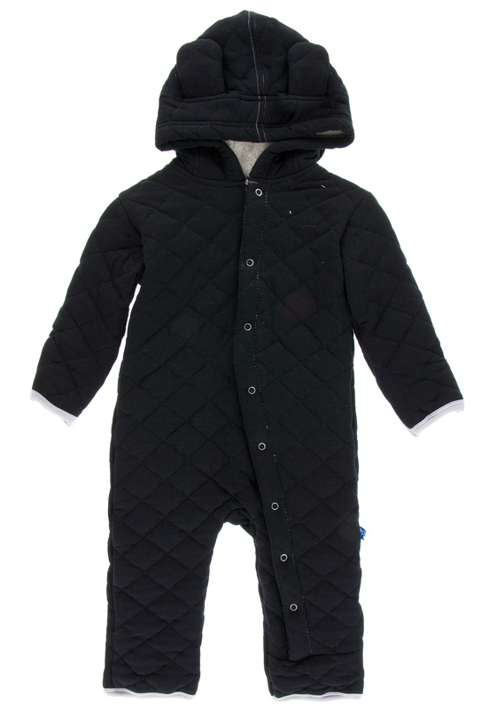 Midnight w/ Feather Quilted Hoodie Coverall w/ Sherpa Lined Hood