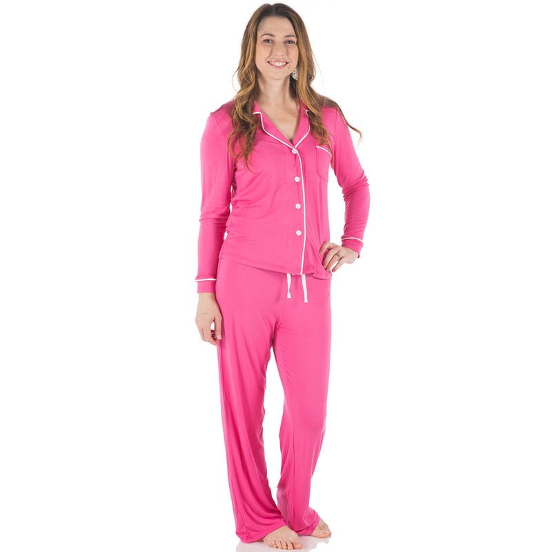 KicKee Pants Flamingo Long Sleeved Collared Pajama Set - kkgivingtree
