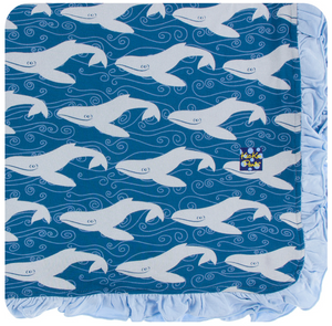 Twilight Whale Ruffle Toddler Blanket