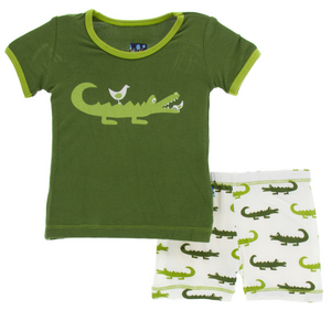 Natural Crocodile Short Sleeve Pajama Set w/ Shorts