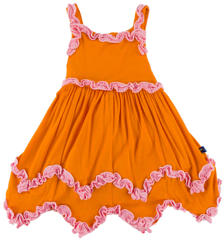 Sunset with Lotus Ruffle Tank Dress with Bloomer