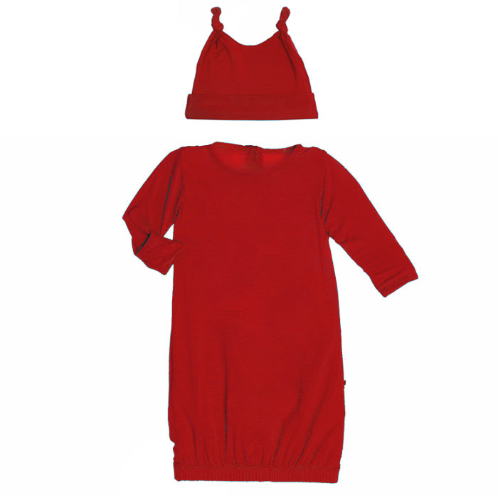 Crimson Layette Gown & Double Knot Hat Set