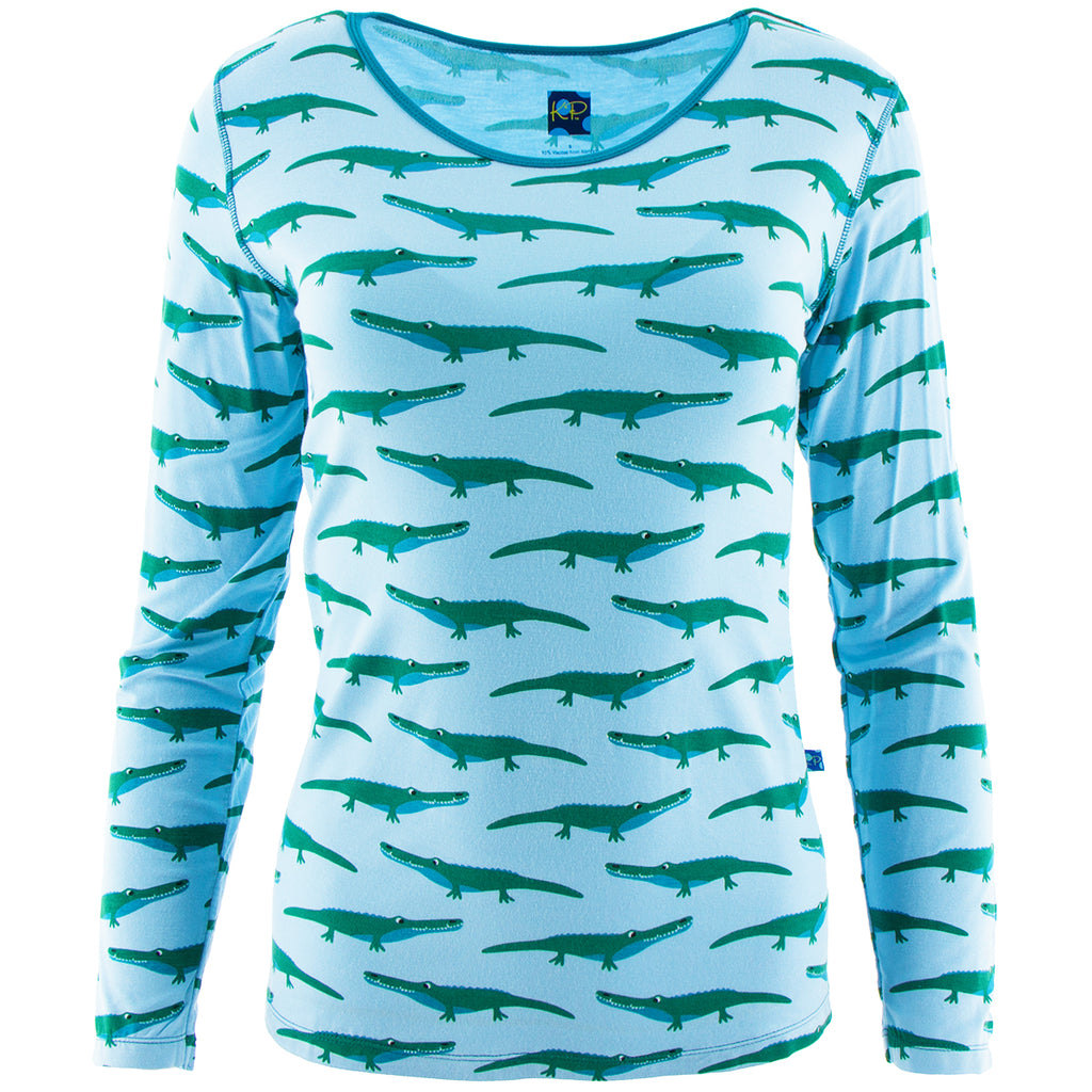 KicKee Pants - Pond Crocodile Long Sleeve Loosey Goosey Tee - kkgivingtree - K&K's Giving Tree