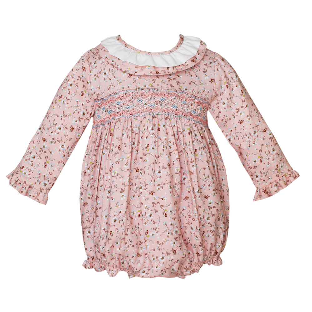 Pink Liberty Floral Bubble w/ Ruffle Collar