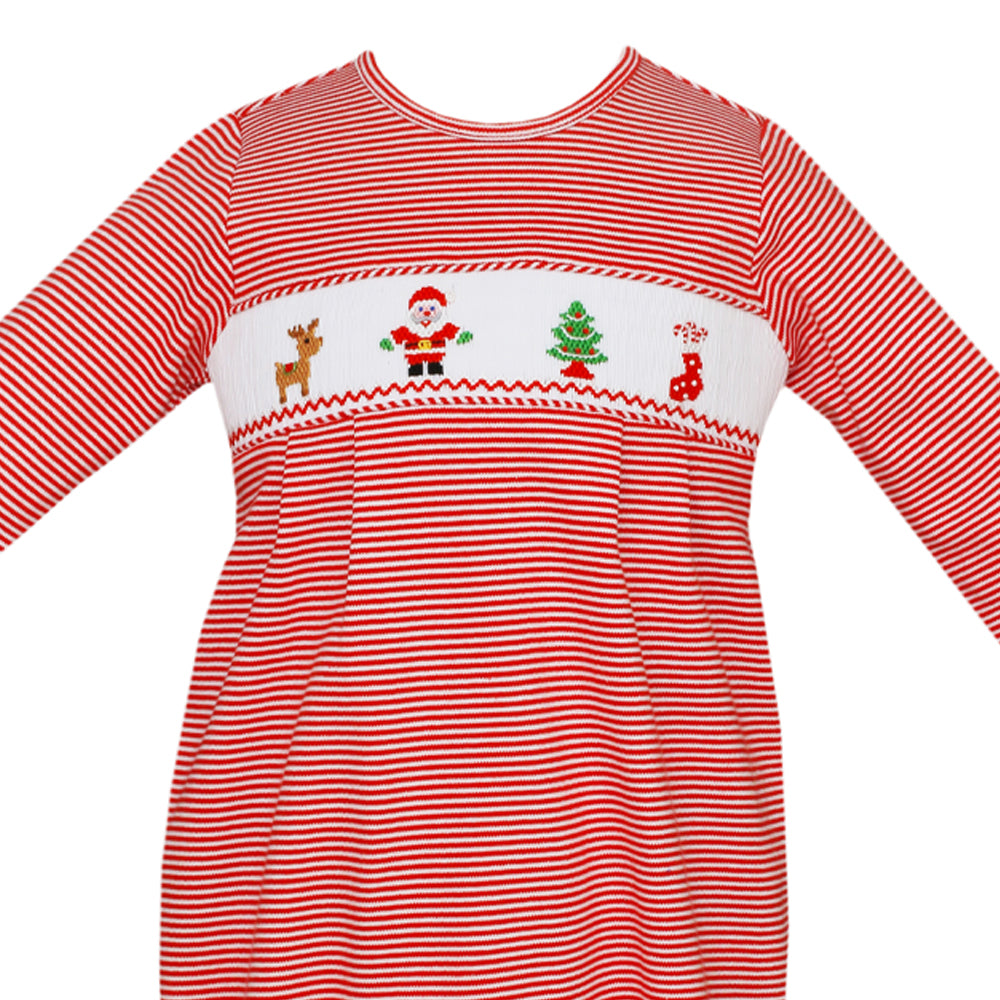 Striped Santa Clause Footie - Red