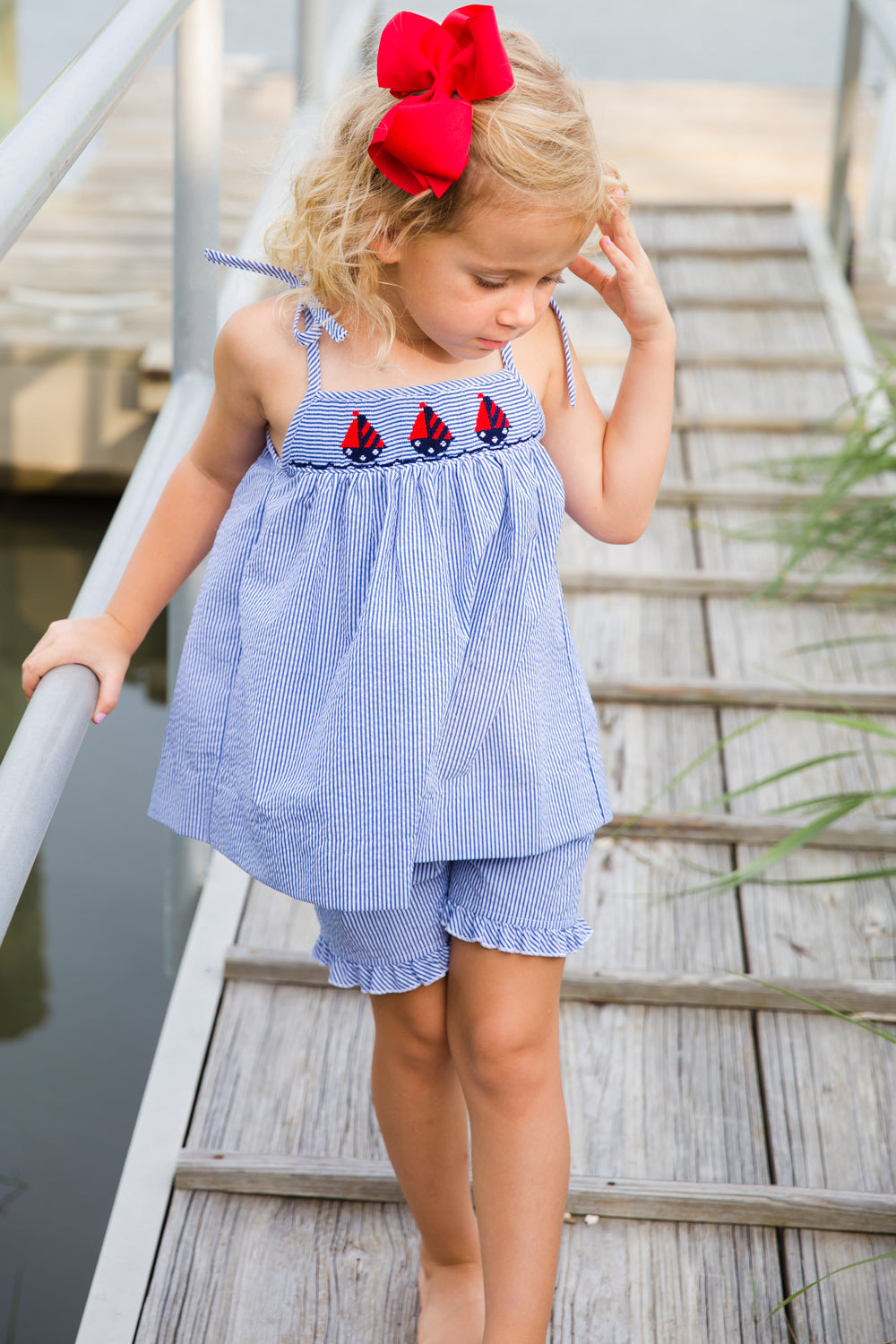 Smocked Sailboats at Sea Tie-Strap Short Set