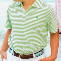 Bailey Boys - Green & White Stripe Short Sleeve Polo - K&K's Giving Tree - kkgivingtree