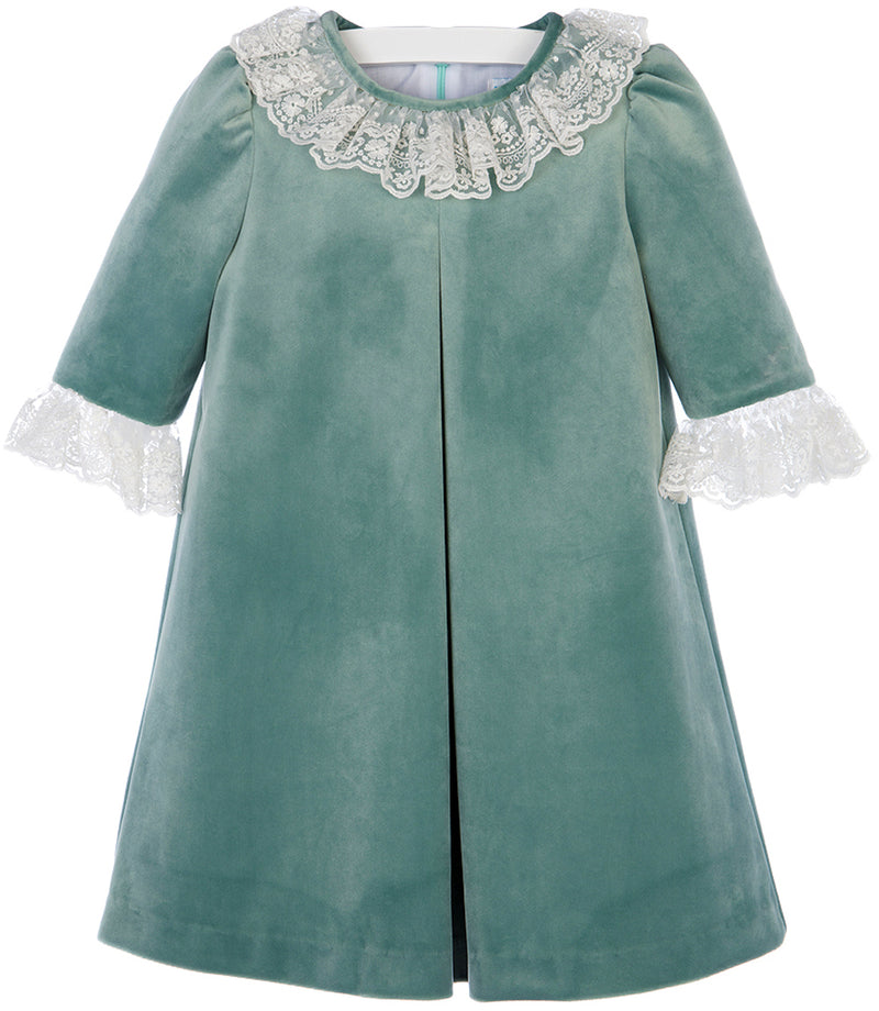Green Velvet Pleat Dress with Ivory Lace