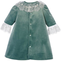 Green Velvet Dress with Ivory Lace