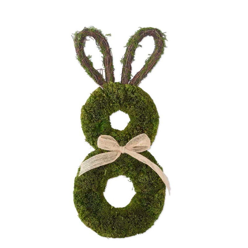 22.25 Inch Preserved Dried Grass Rabbit Wreath With Bow