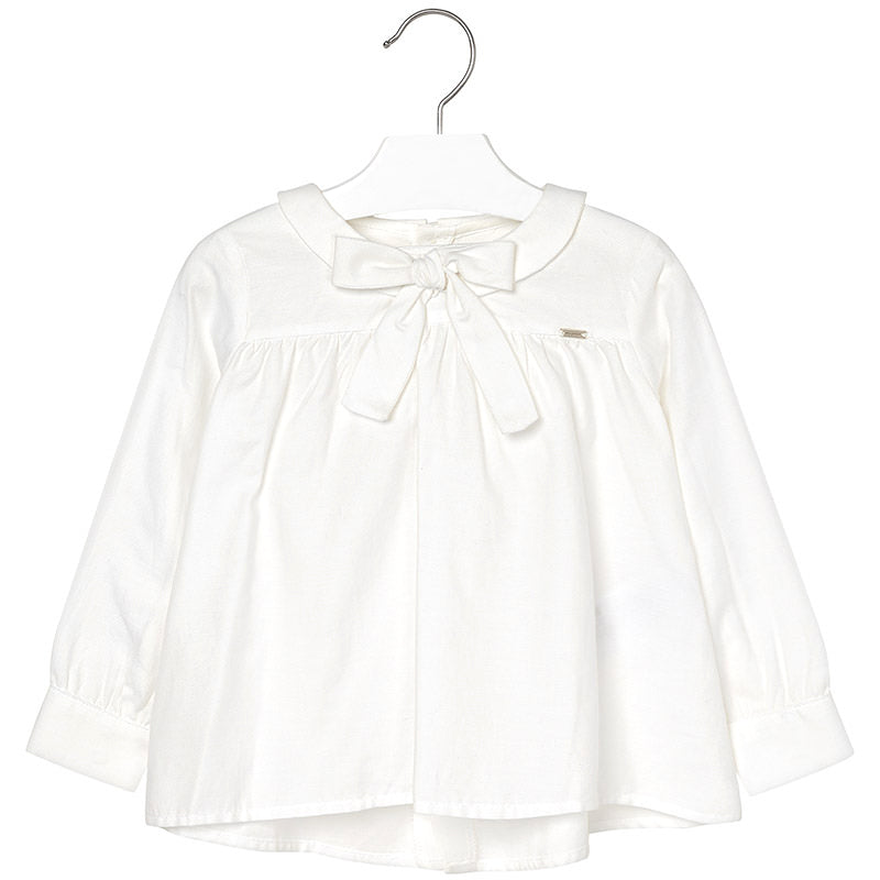 Ivory Cotton Bow Blouse